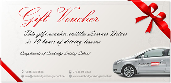 Driving Lesson Gift Vouchers Cambridge