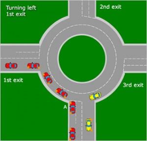 turning-left-on-roundabout